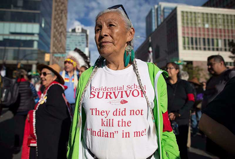 Residential school survivor Harriet Prince of Sagkeeng First Nation attends the Walk for Reconciliation in Vancouver on Sept. 24 2017. | photo credit Darryl Dyck of The Canadian Free Press
