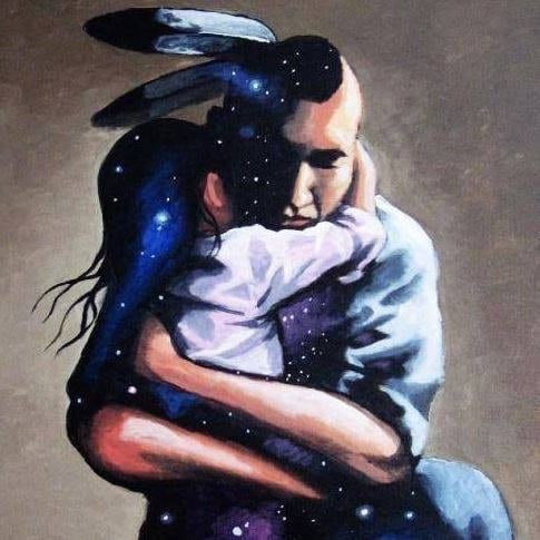painting of first nations father hugging child