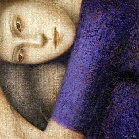 painting of woman hugging knees